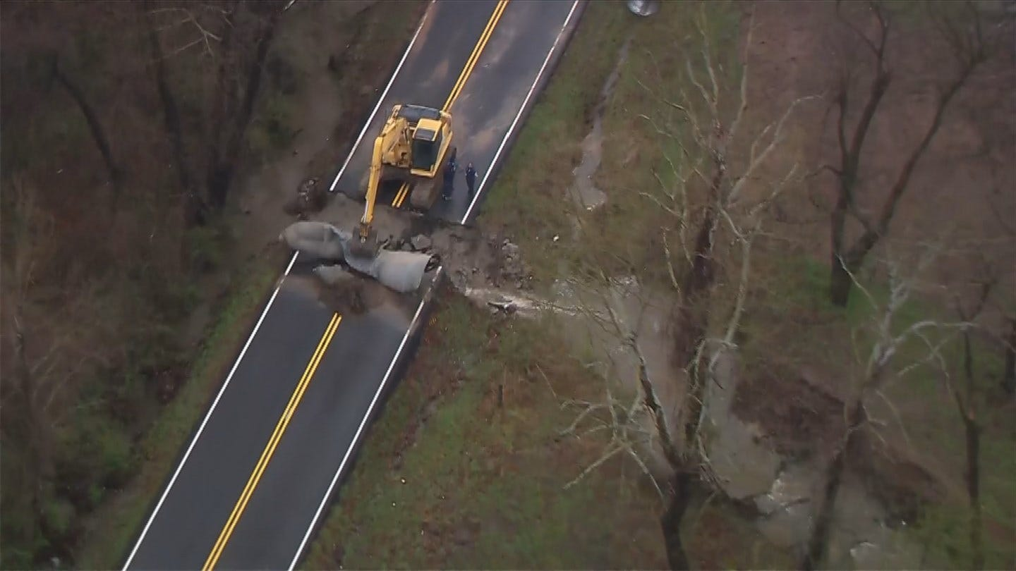 Road Collapse In Wagoner County