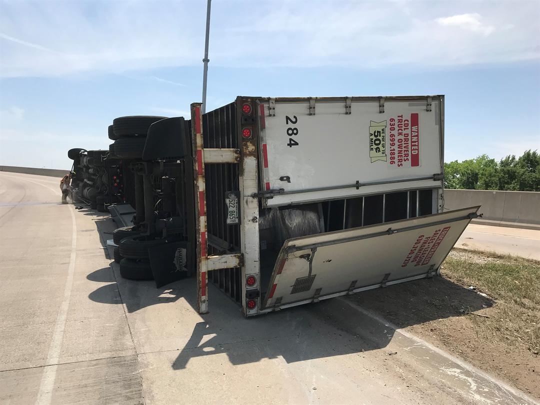 Overturned Semi Closes I-244 Northwest Of Downtown Tulsa