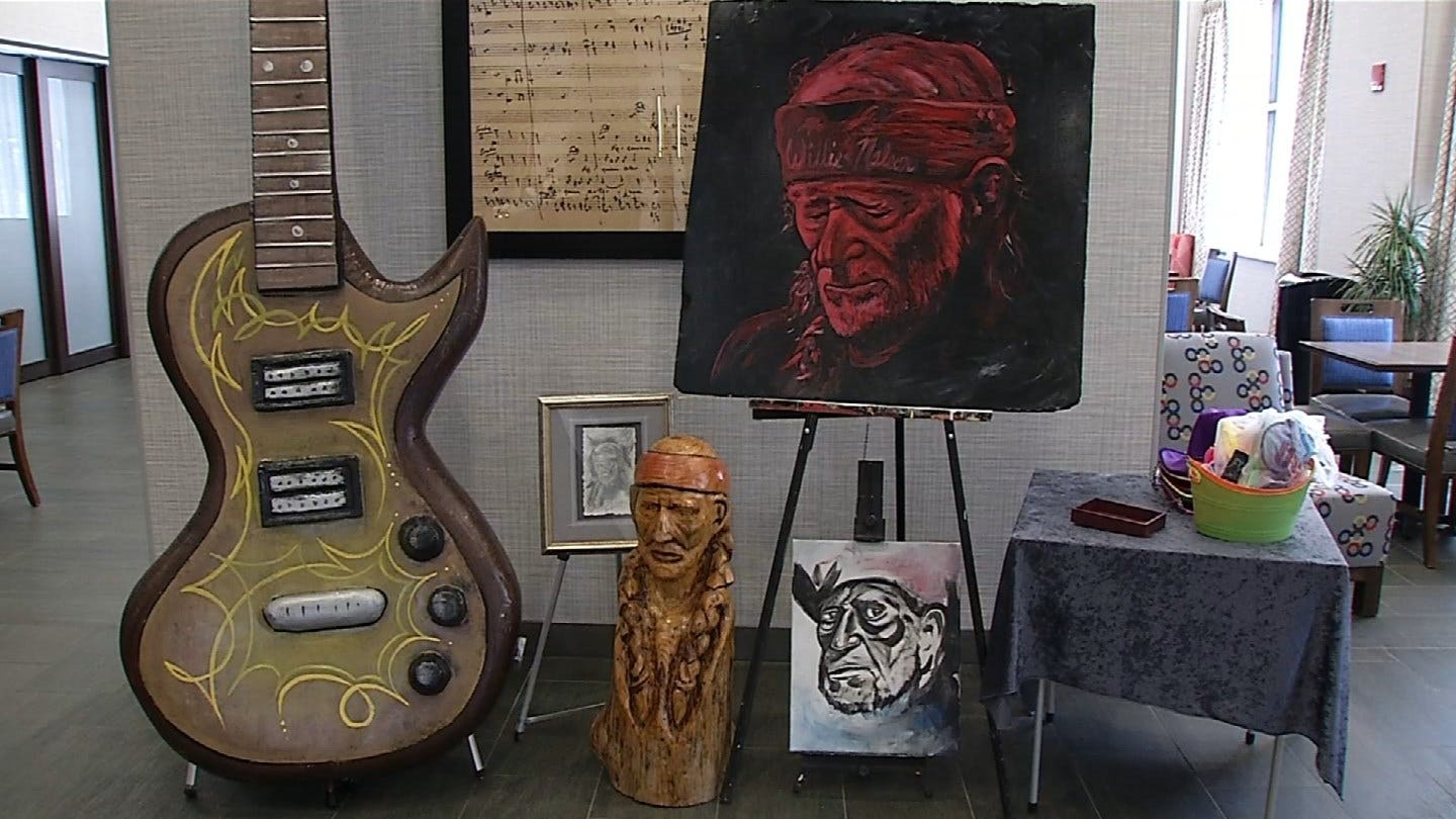 Artist Displays Sculpture Honoring Willie Nelson Before Concert At BOK