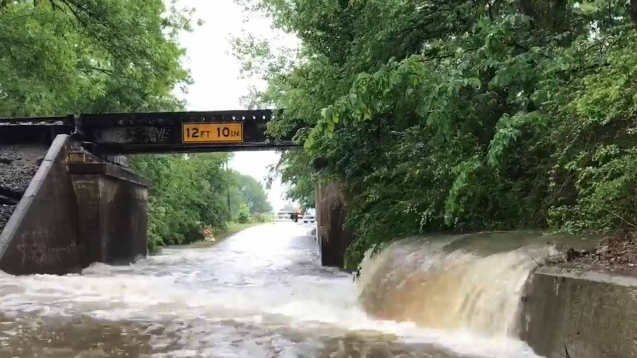 Heavy Rain Causes Flooding In Muskogee County