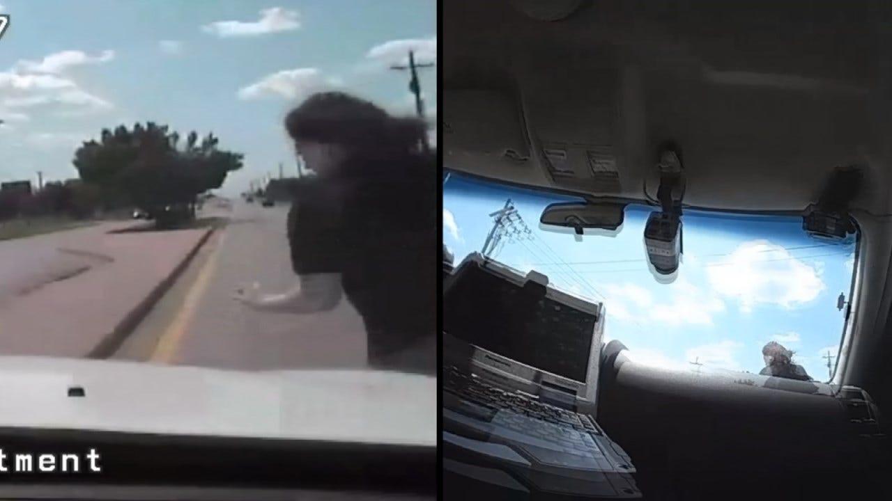 Dashcam: Stolen Truck Suspect Hit By Tulsa Police Vehicle