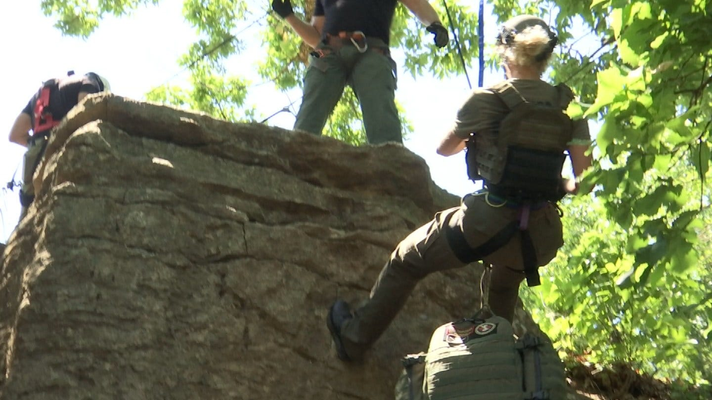 Rappelling Down Cliffs Among Tulsa Special Operations Team Training
