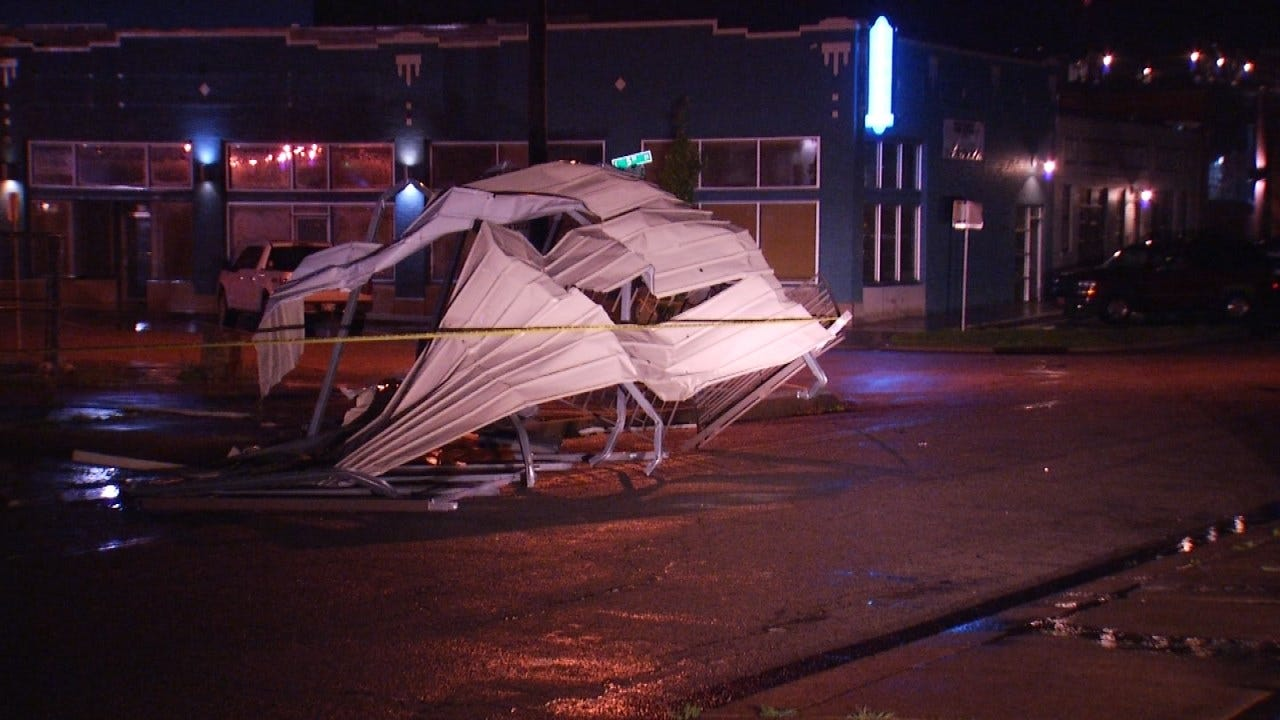 Storms Damage Canopy Of Tulsa Business
