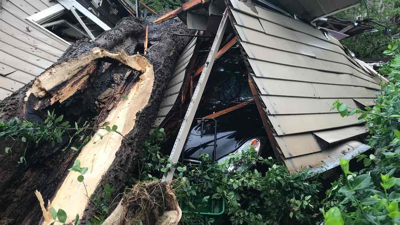 Tree Crashes Into Tulsa Garage Apartment