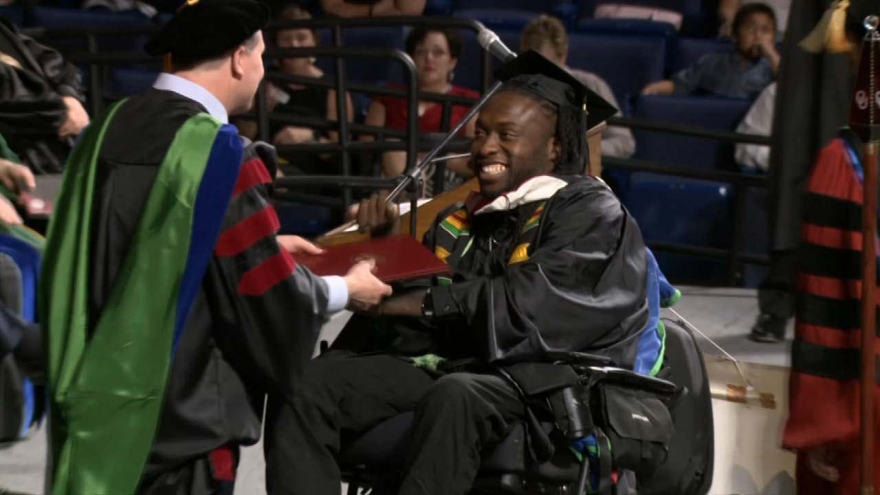 Former Oklahoma Thunder Football Player Gets Master's After Paralyzing Injury