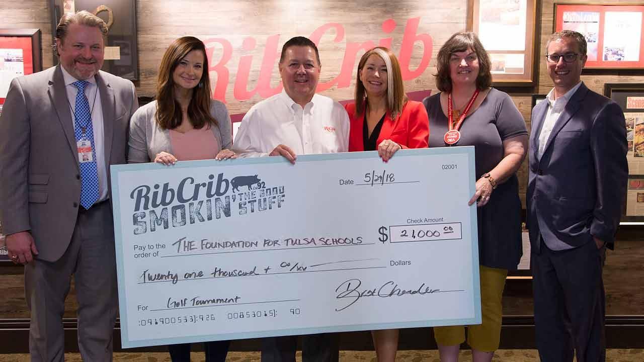Rib Crib Makes Donation To Foundation For Tulsa Schools