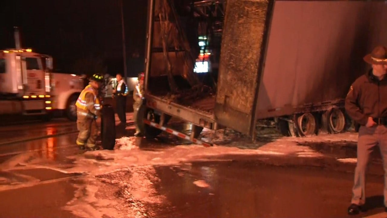 Semi Trailer Fire Causes Traffic Mess On I-44 In West Tulsa