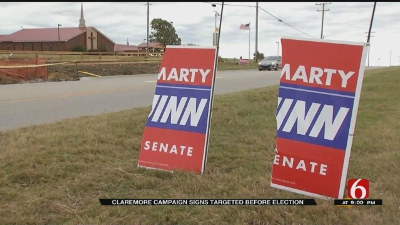 Vandals Destroy, Steal Political Signs In Claremore