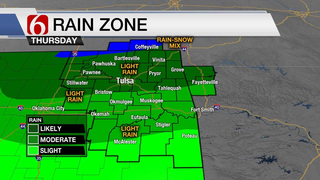 Showers Moving Into Eastern Oklahoma Ahead Much Colder Air