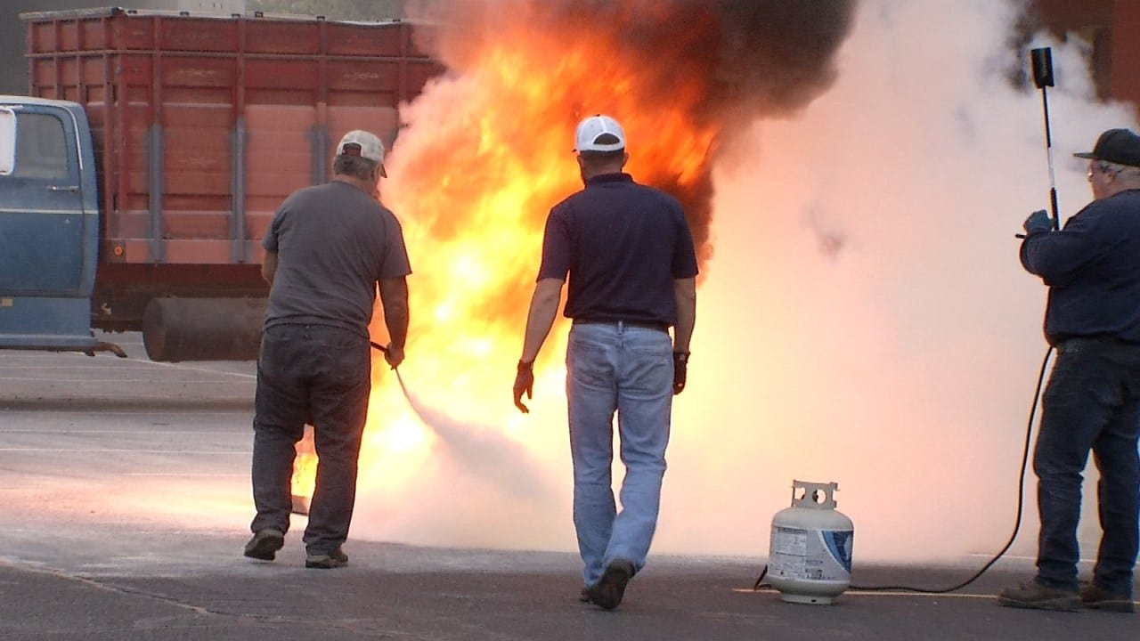 Security Guards At Tulsa's Williams Tower Holding Fire Training Exercise
