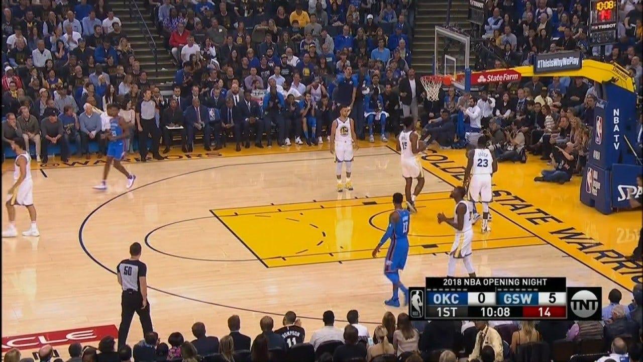 Curry, Durant Lead Warriors Past OKC Thunder 108-100