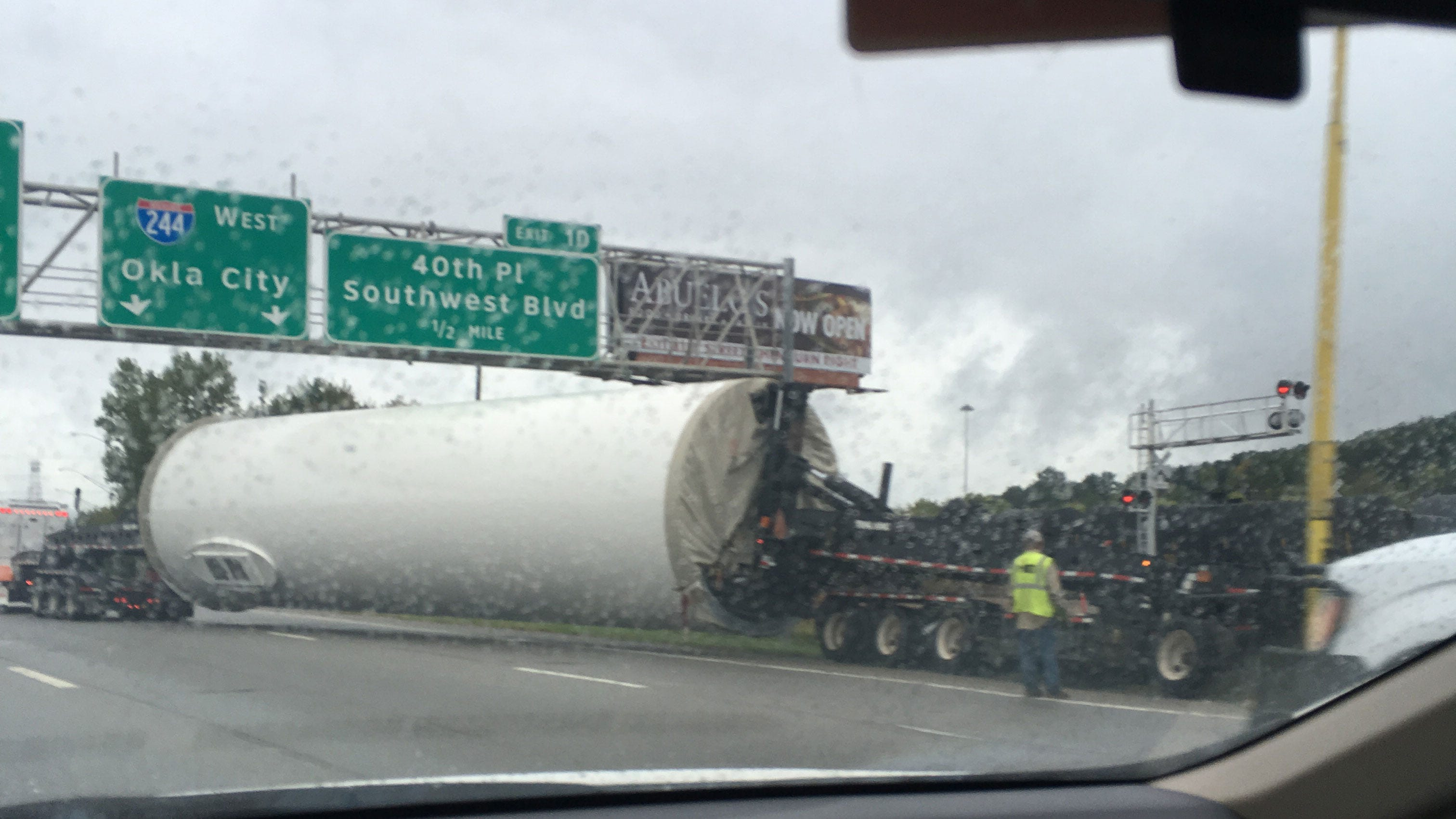 Semi Carrying Windmill Base Blocks Tulsa Highway