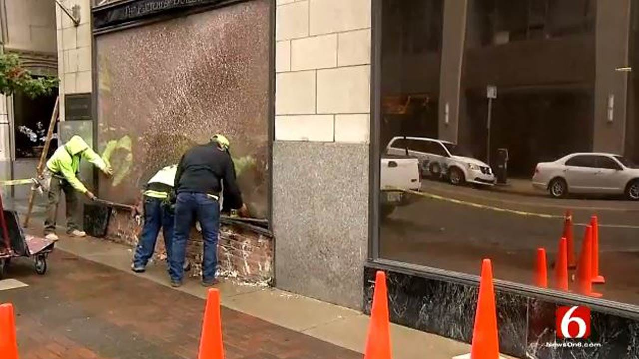 SUV Damages Historic Philtower Building In Tulsa