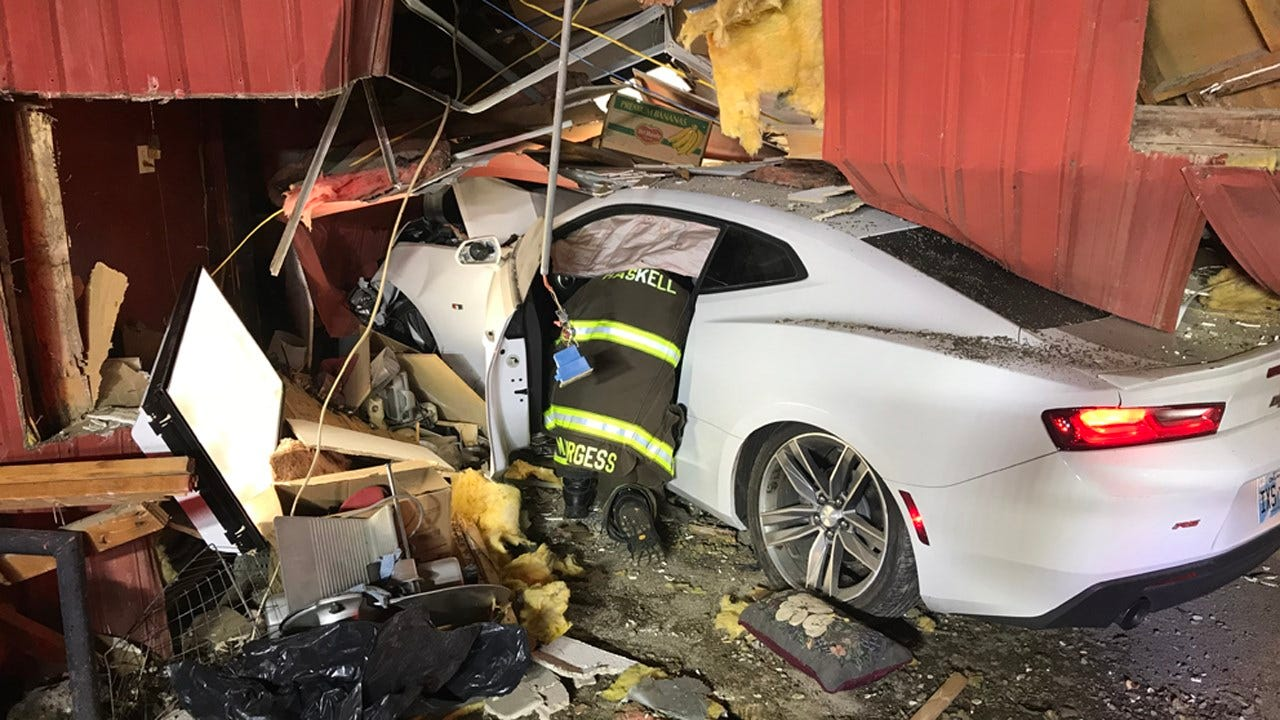 Car Crashes Into Building In Haskell