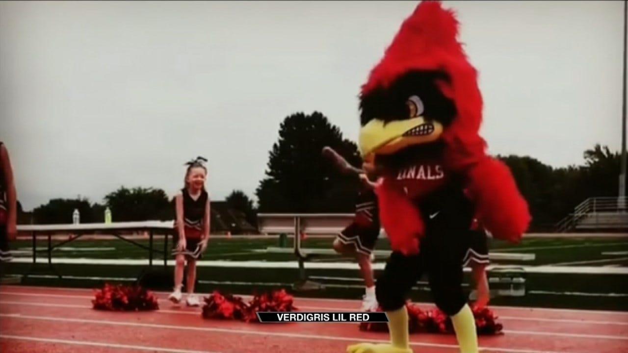 Verdigris First Grader Performs As Football Mascot