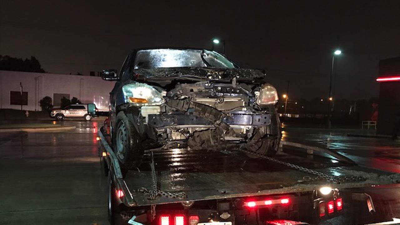 Car Hits Tulsa Business In Early Thursday Crash