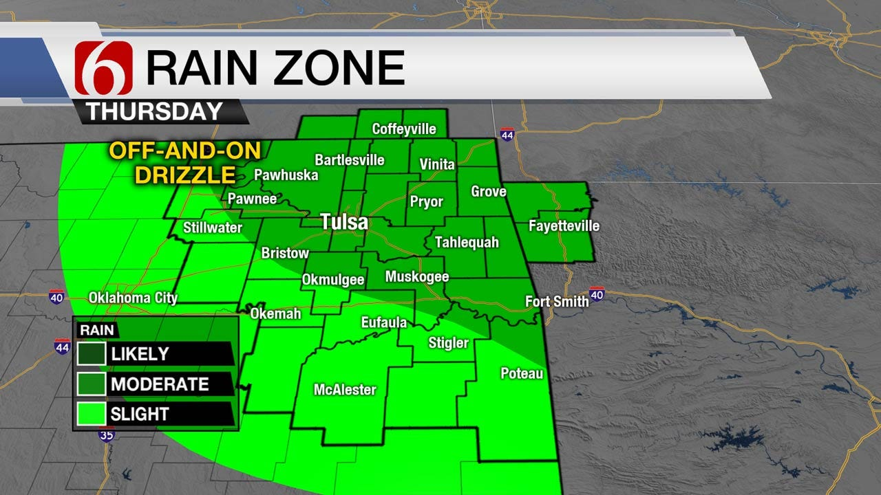 Dreary & Drizzly Thursday Across Eastern Oklahoma