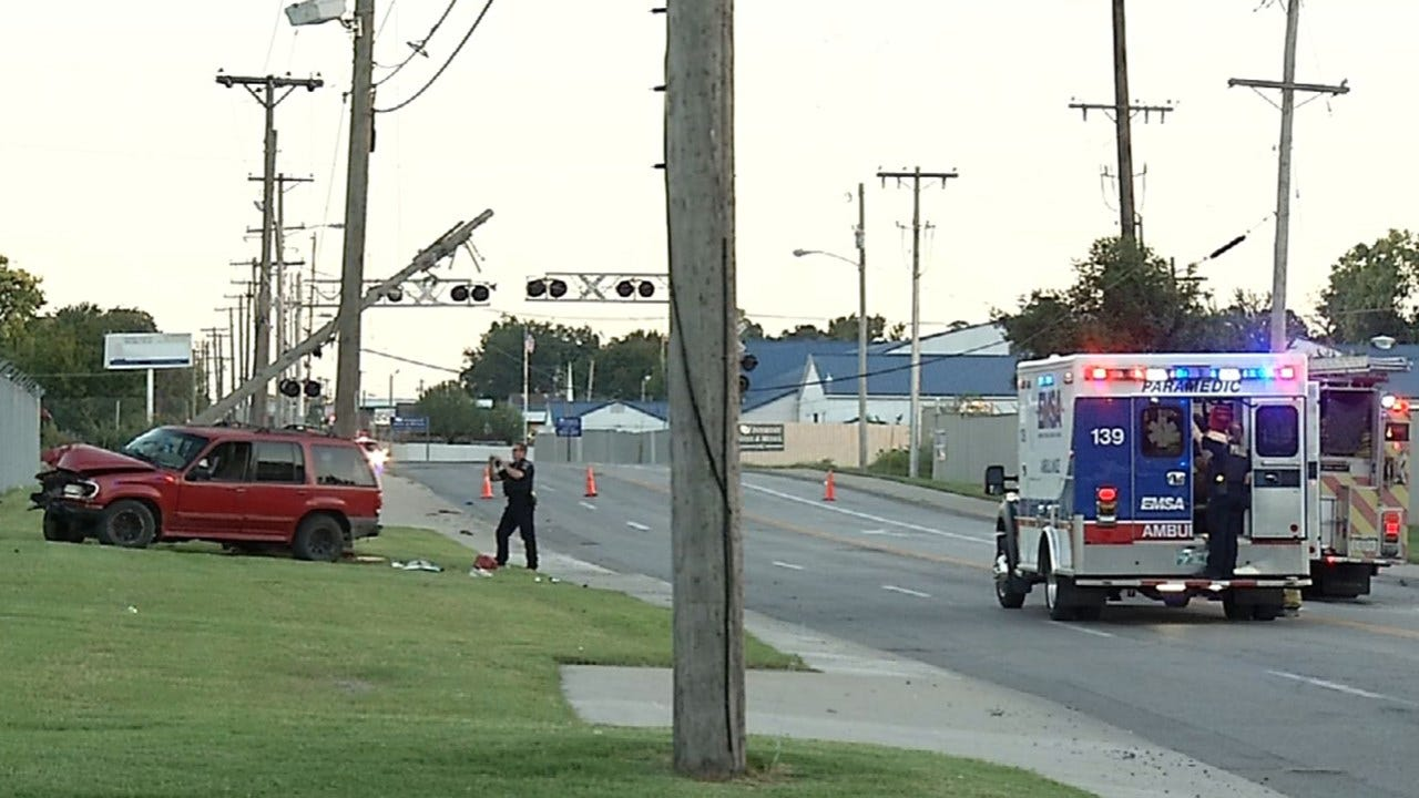 Driver Injured After Colliding With Power Pole In Tulsa