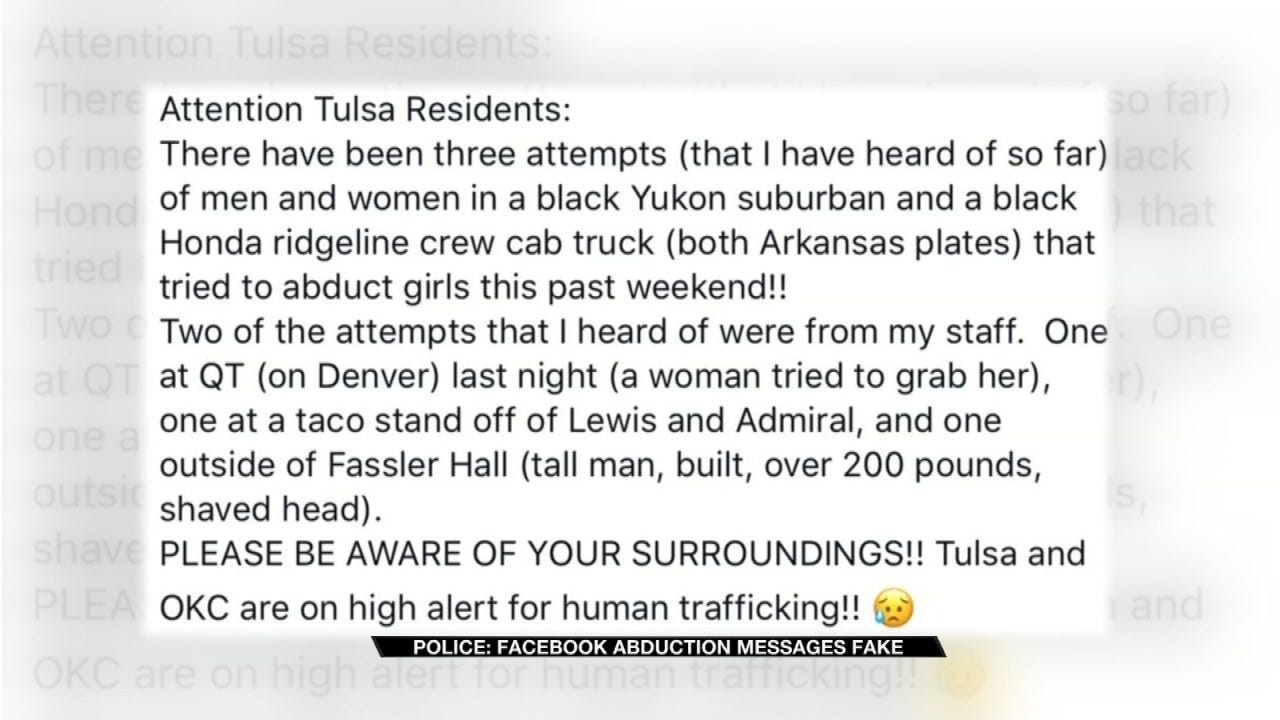 Facebook Post Claims Tulsa Women Are Being Abducted