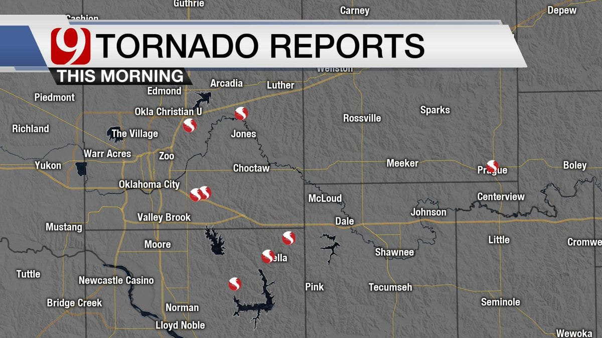 Preliminary Reports Show 8 Tornadoes Touched Down In Central OK