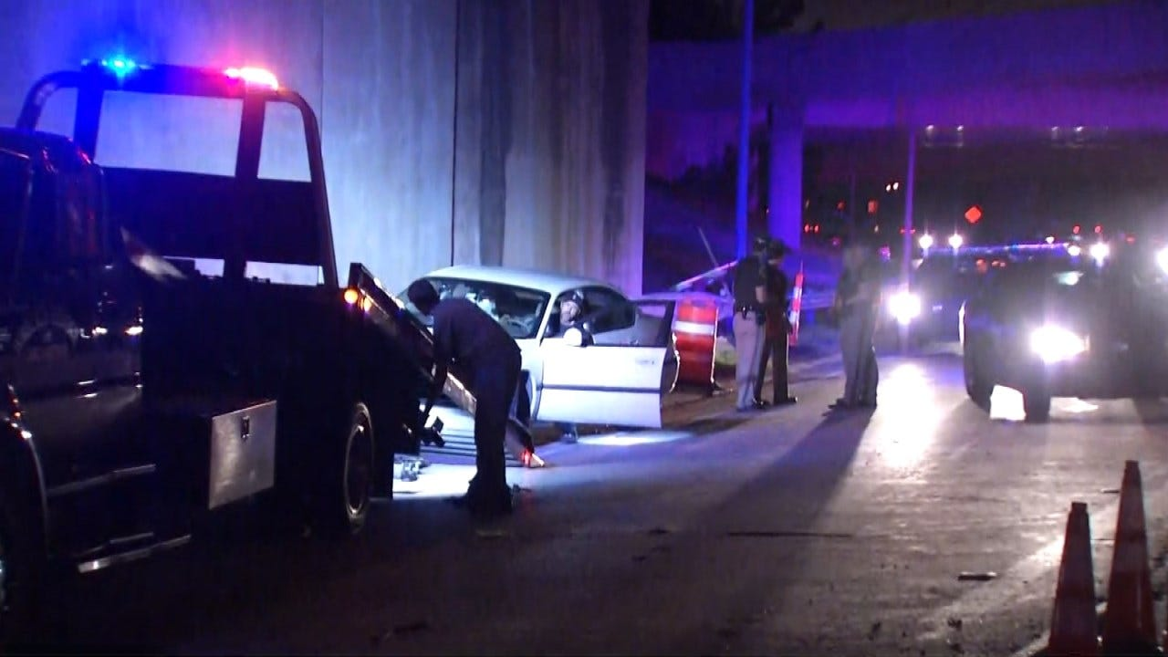 OHP: Driver Injured When Car Hits Tulsa Highway Wall