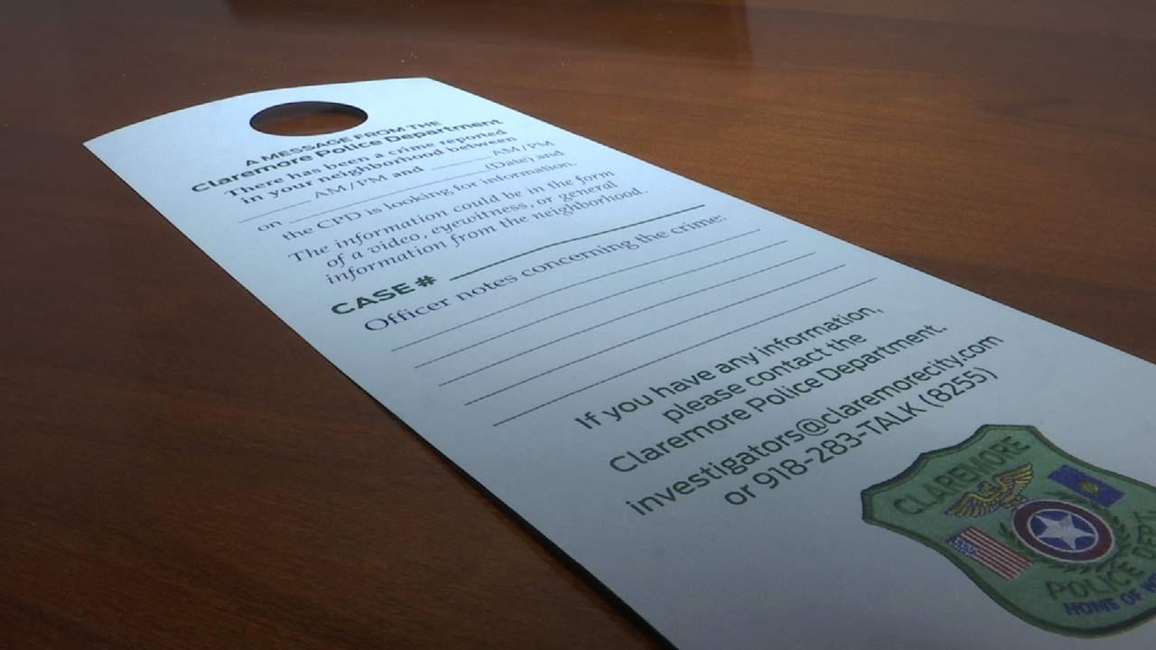 Claremore Police Using Door Hangers To Connect With Neighbors Near A Crime