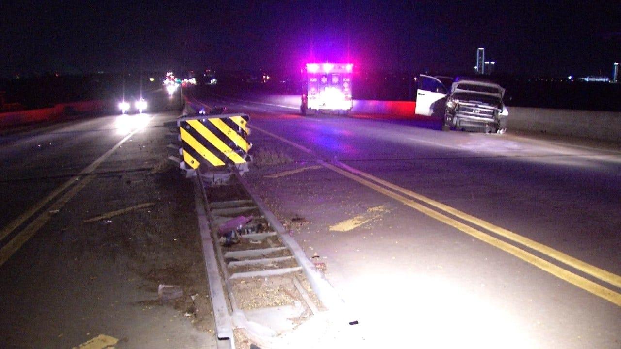 Pickup Slams Into Tulsa Bridge Guardrail
