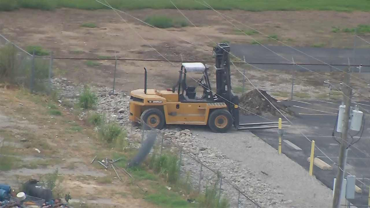 Forklift Driver Avoids Injury After Accidentally Pulling Down Tulsa Power Line