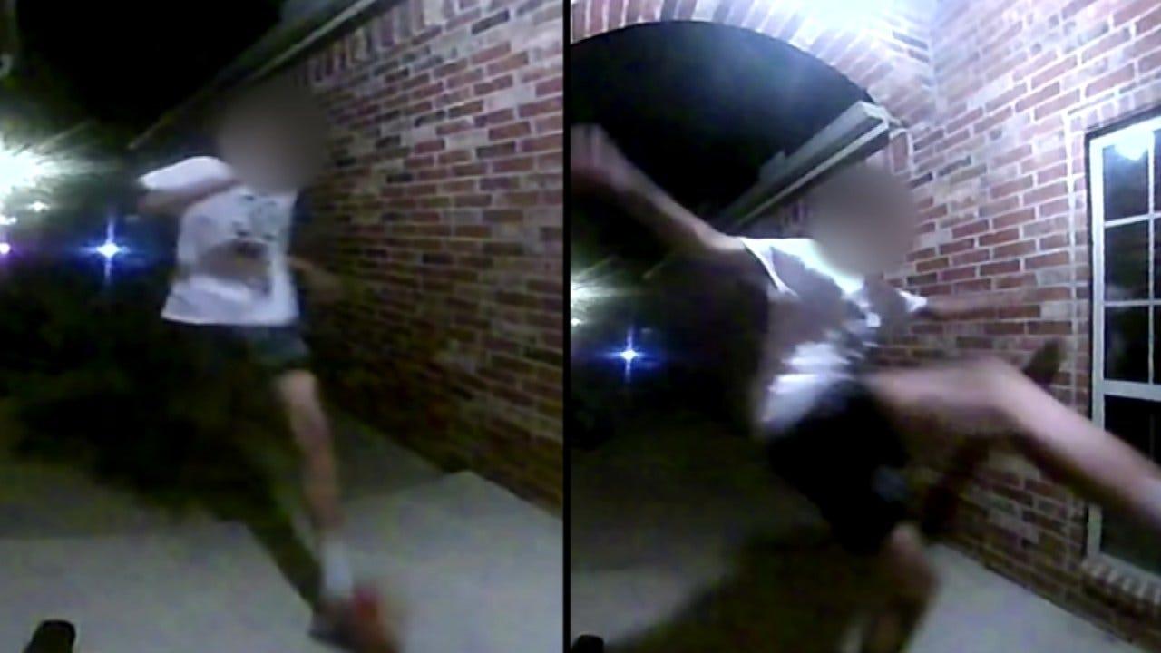 Surveillance Video Captures Male Kicking In Tulsa Man's Front Door
