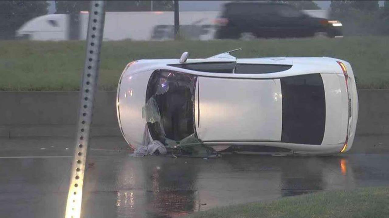 Car Goes Off Tulsa Highway, Lands On Its Side