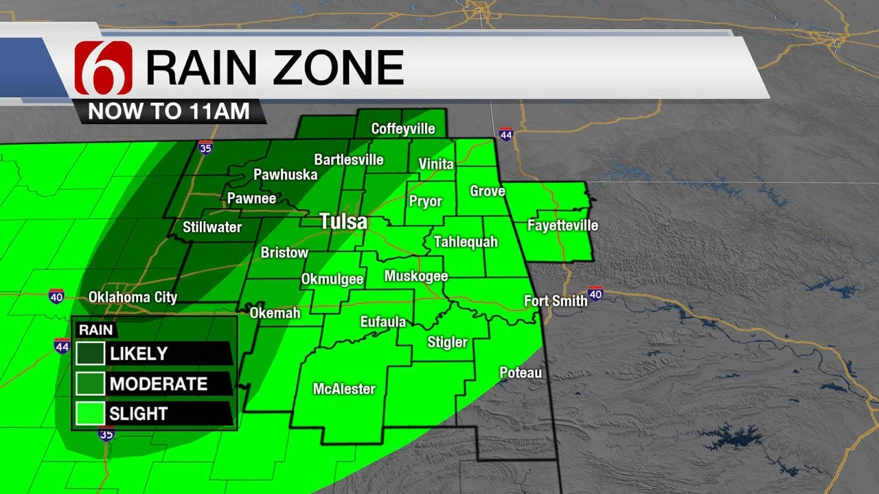 More Showers Across Eastern Oklahoma Today