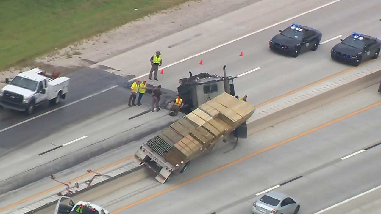 Semi Lands On Both Sides Of Muskogee Turnpike