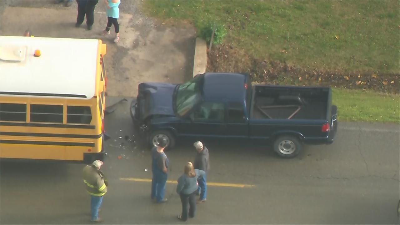 No Injuries After Truck Slams Into School Bus In Rogers County