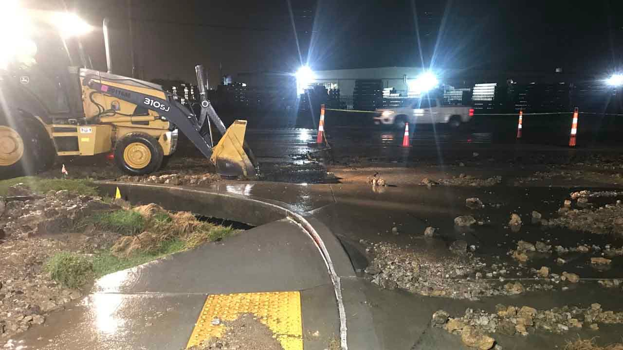 City Of Tulsa Crews Work To Repair Multiple Water Breaks