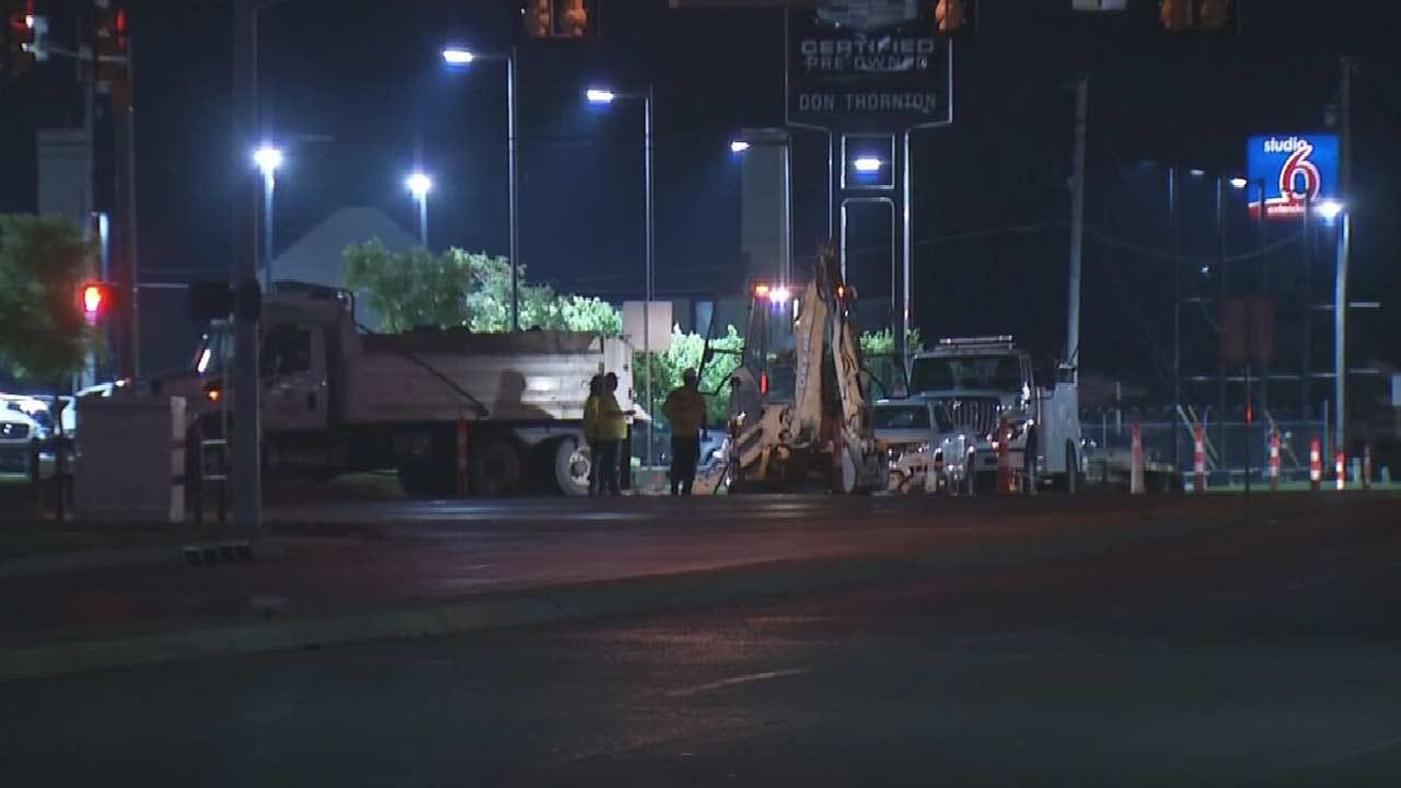 Water Main Break Repairs Underway At 41st & Memorial In Tulsa