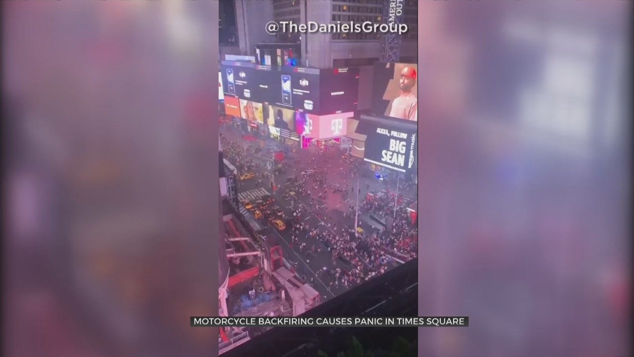 Panic In Times Square As Crowd Mistakes Backfiring Motorcycle For Shooter