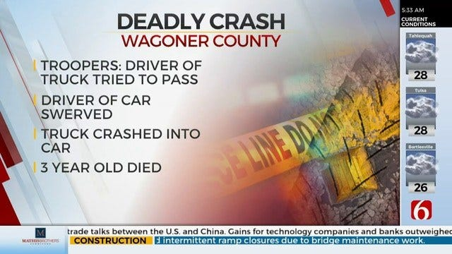 Wagoner County Crash Kills Toddler, Injures Teenager
