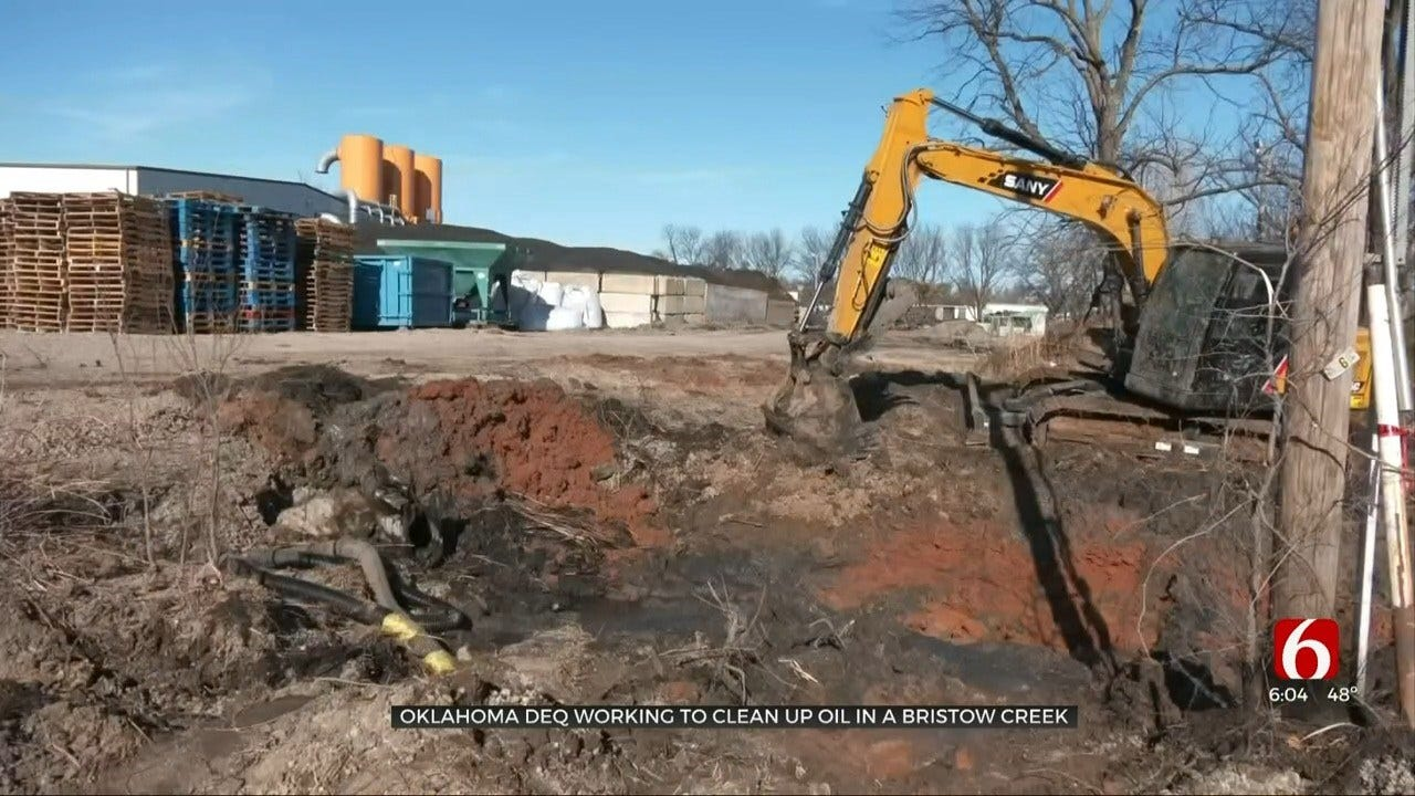 Bristow Company Cleaning Up After Equipment Leaks Oil-Like Fluid Into Nearby Creek