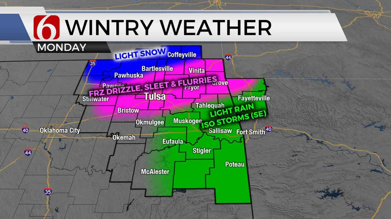 Freezing Drizzle, Light Sleet, Snow Possible As Wintry Mix Continues In Tulsa