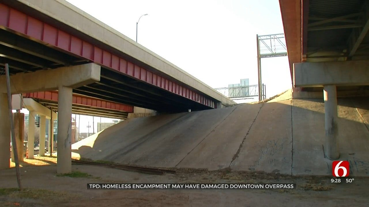 Homeless Encampment May Have Damaged Downtown Tulsa Overpass