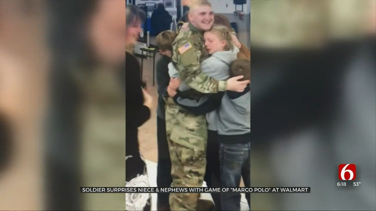 Soldier Surprises Family With Game Of 'Marco Polo' At Walmart