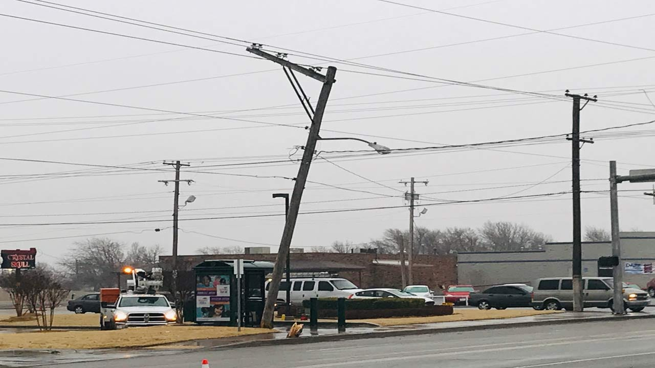 Parts Of 11th St Closed In Tulsa After Car Strikes Power Pole