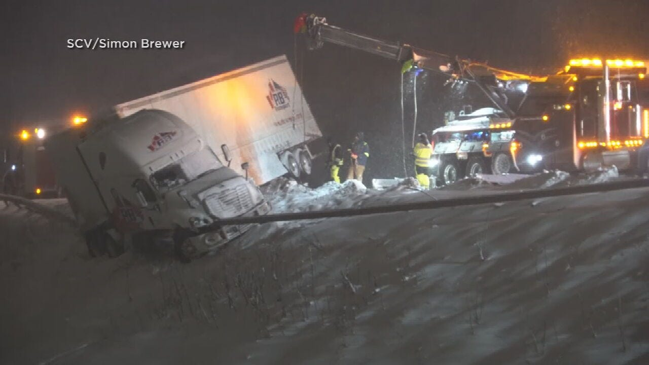 Bus, Tractor-Trailer Collide On NY Highway During Snowstorm