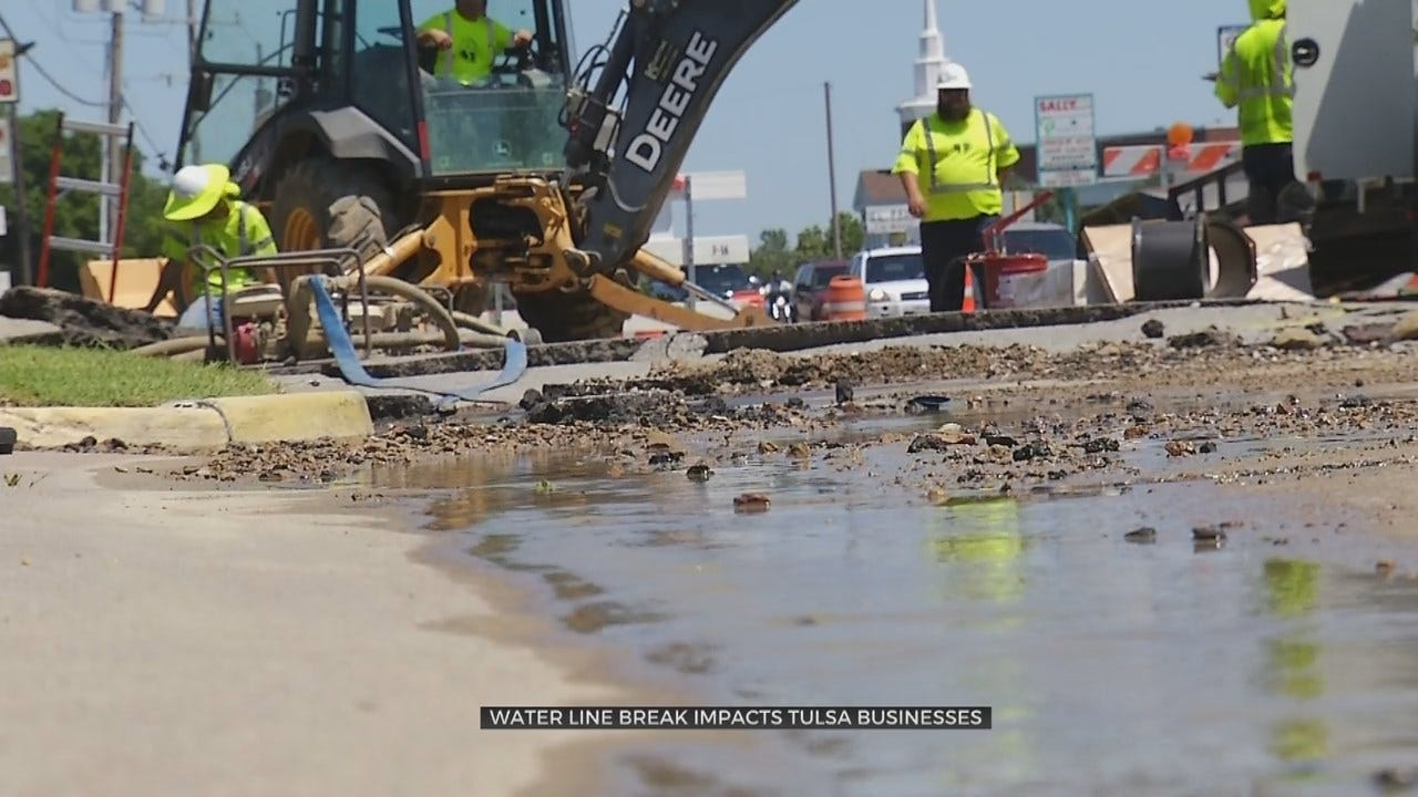 Tulsa Water Main Break Causes Issues For Local Businesses