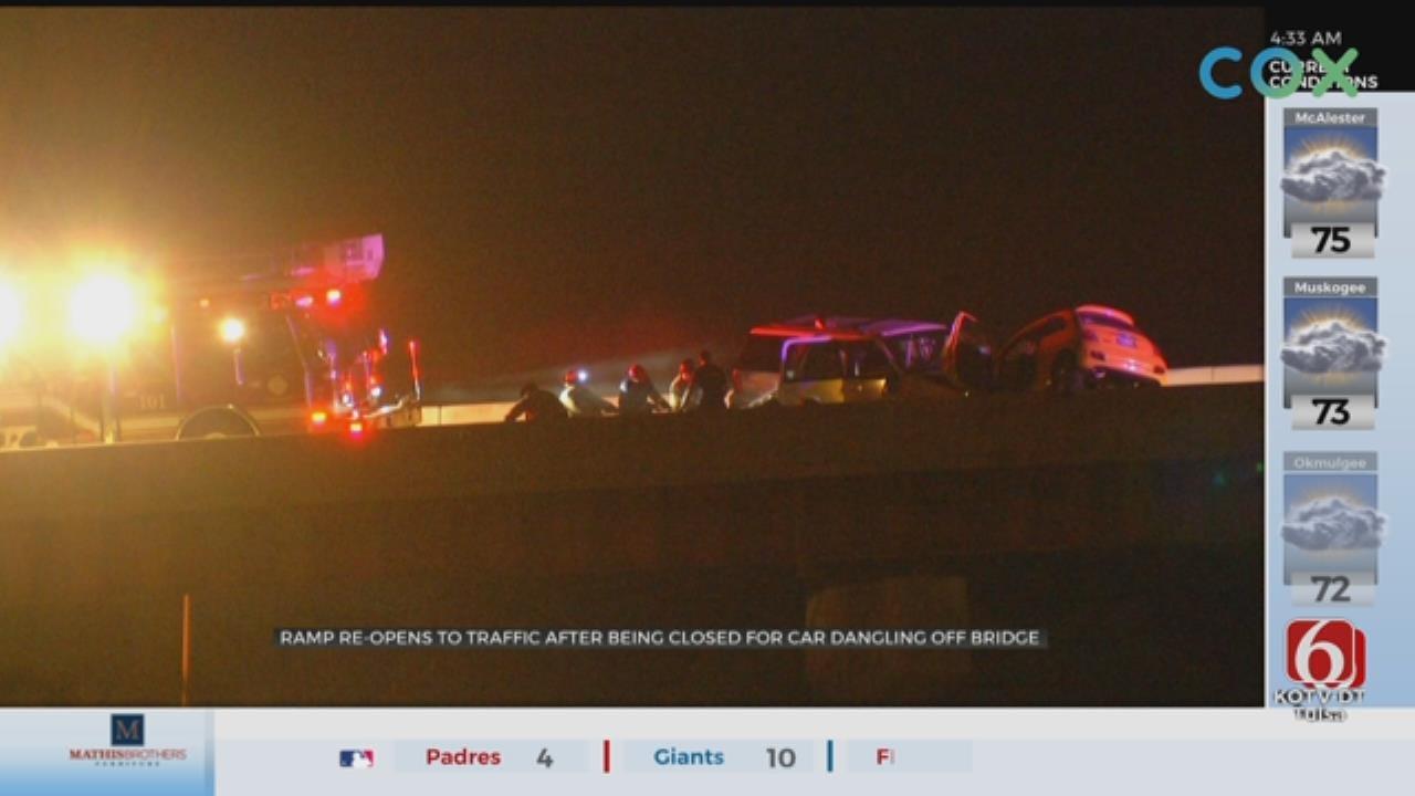 Wrong-Way Crash Causes Car To Hang From Tulsa Bridge