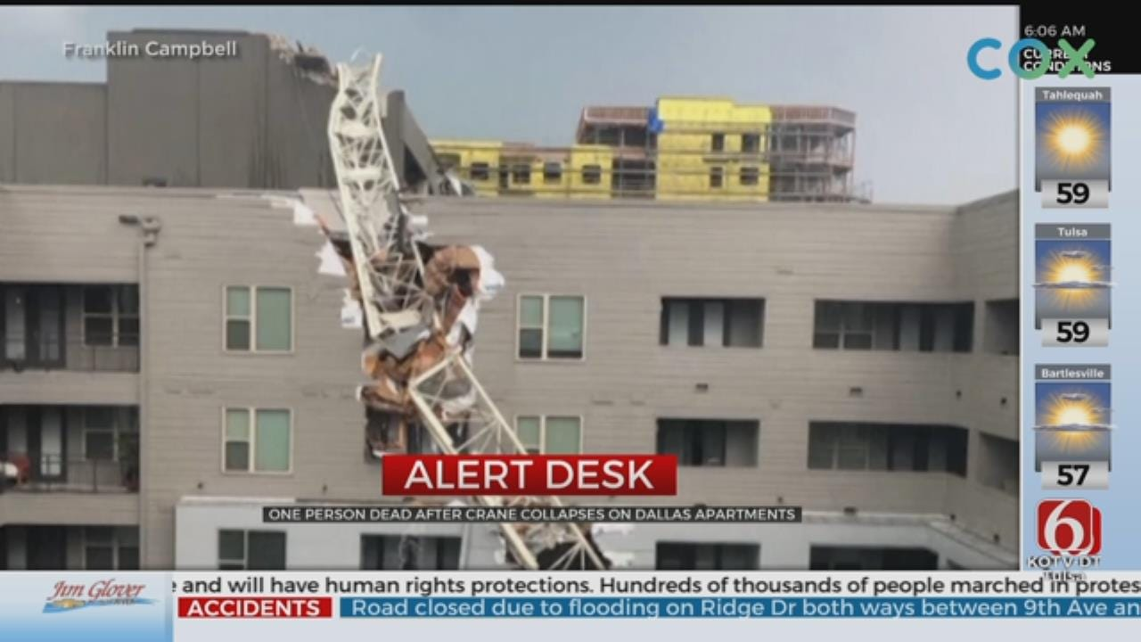 1 Dead After Severe Weather Causes Crane To Collapse In Dallas