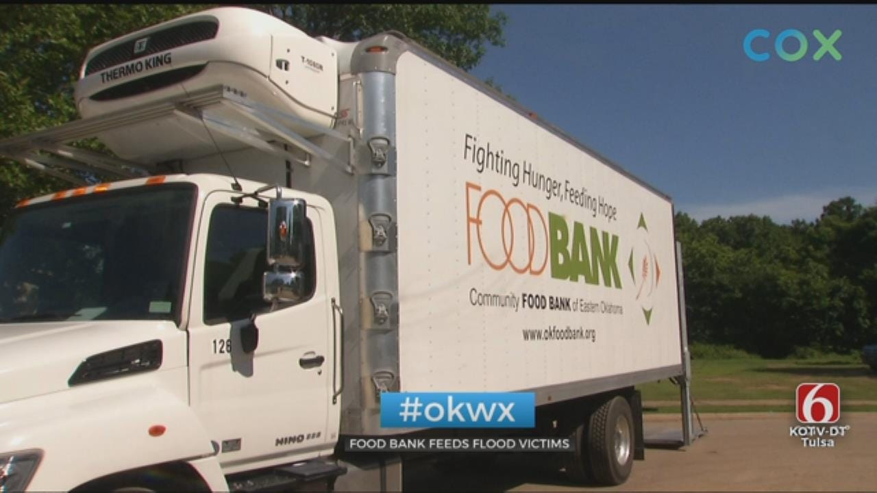 Food Bank Helps Feed Sand Springs Flood Victims With Pop-Up Mobile Pantry