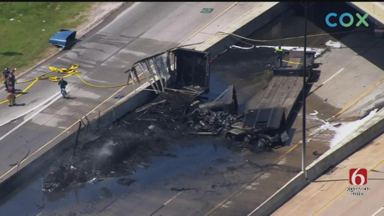 I-44 At Highway 169 Re-Opened After Fiery Tulsa Semi Crash