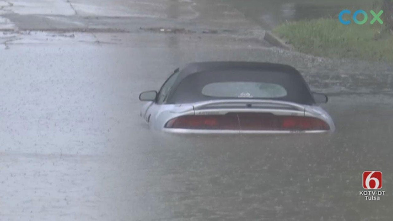 Heavy Rain Brings Flash Flooding To Tulsa Streets