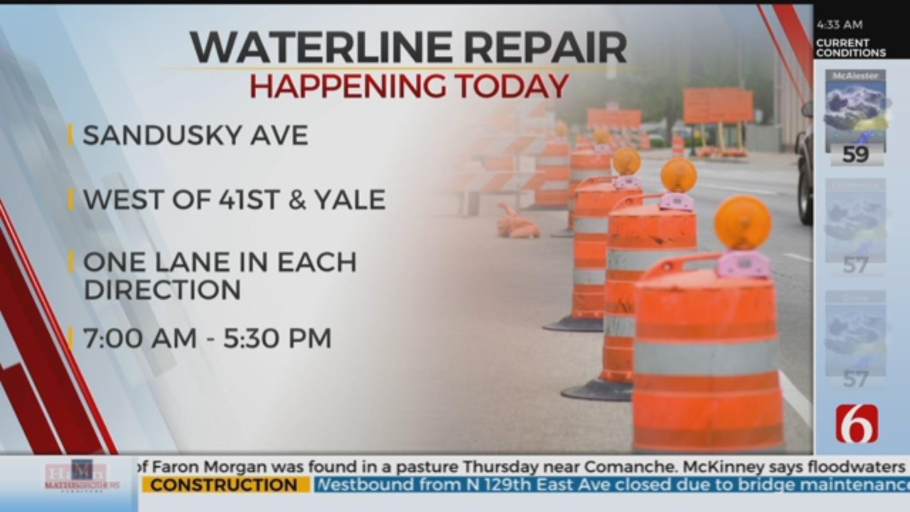 Tulsa Waterline Repair Project Closes Lanes